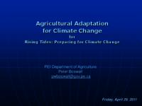 Agricultural Adaptation for Climate Change for Rising Tides: Preparing for Climate Change