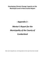 Developing Climate Change Capacity at the Municipal Level in Nova Scotia Report: Appendix 2 - Mentor's Report for the Municipality of the County of Cumberland