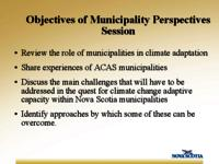 Objectives of municipality perspectives session