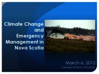 Climate Change and emergency management in Nova Scotia