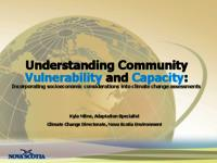 Understanding Community Vulnerability and Capacity: Incorporating socioeconomic considerations into climate change assessments