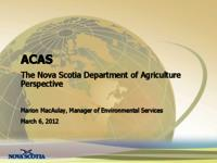 The Nova Scotia Department of Agriculture Perspective