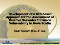Development of a GIS Based Approach for the Assessment of Relative Seawater Intrusion Vulnerability in Nova Scotia