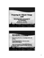 Preparing for climate change 2100 : Information, Tools, and Strategies for NB communities